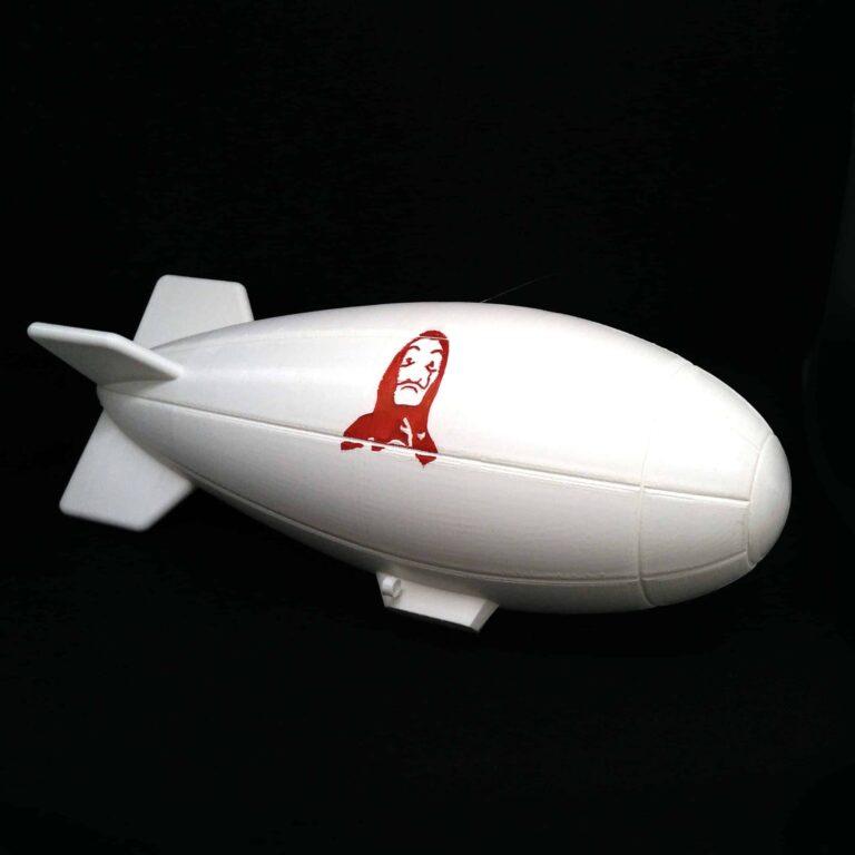 La casa de papel dirigible, Money Heist dirigible 3D printed, money rain scene