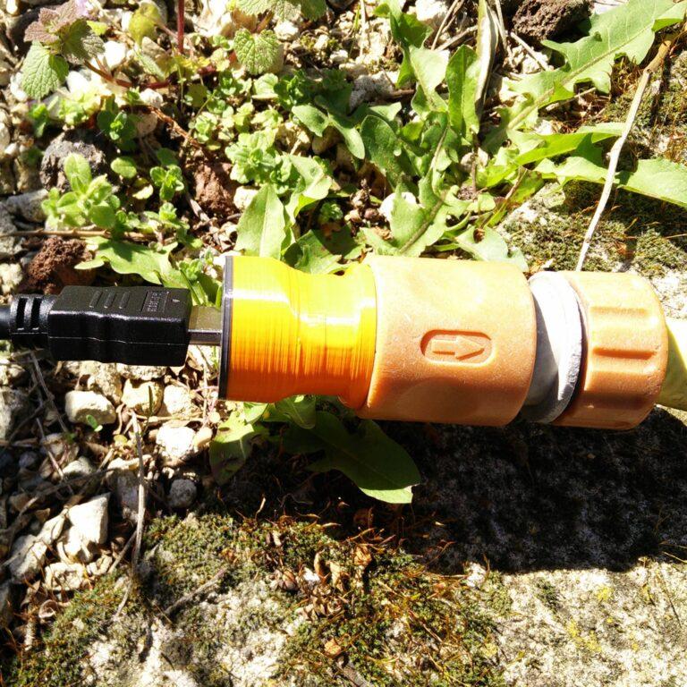 HDMI to Gardena connector in a garden