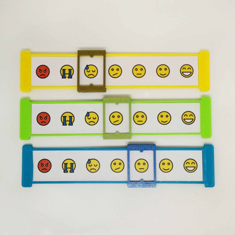 3 children pain scale in yellow, green and blue