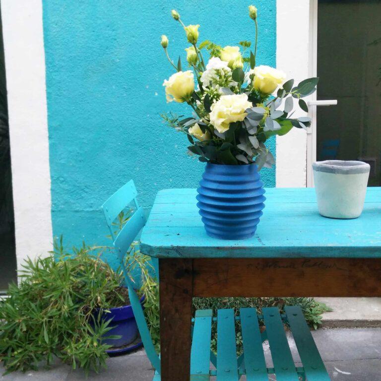 blue wave flower vase - 3D printed