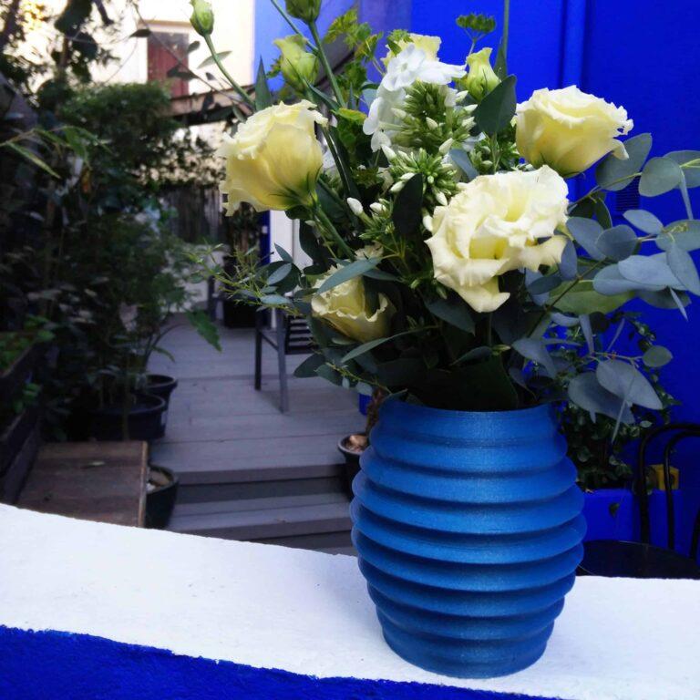 pretty blue design flower vase