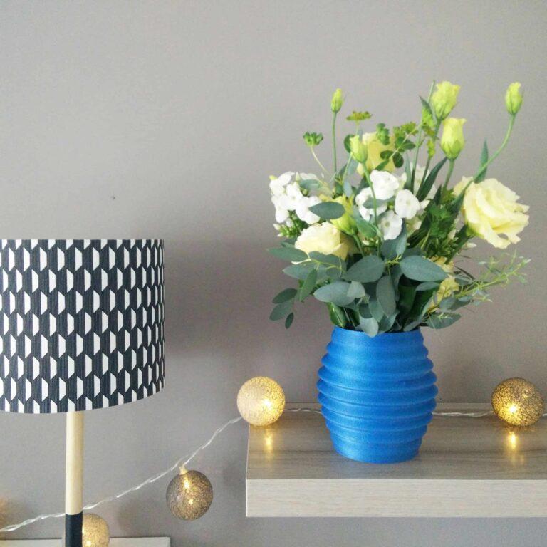 blue design flower vase